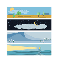 Set in a flat landscape style snow-capped vector