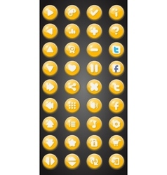 Set of round game buttons in cartoon style vector
