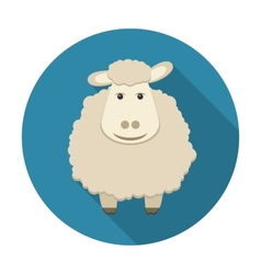 Sheep icon with long shadow vector image vector image