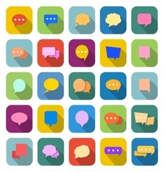 Speech bubble color icons with long shadow vector