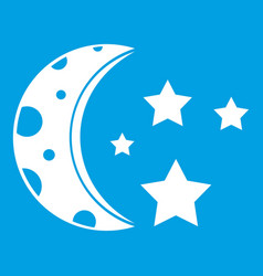 Starry night icon white vector