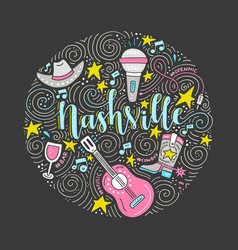 the symbols of nashville vector image