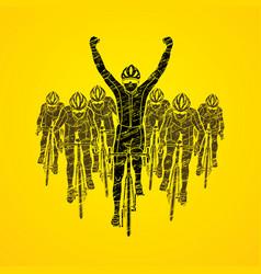 the winner with group of biking sport men team vector image vector image