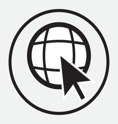 Web globe with arrow cursor monochrome vector