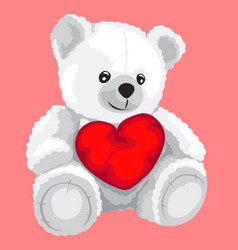 White toy bear with red heart in cartoon style vector