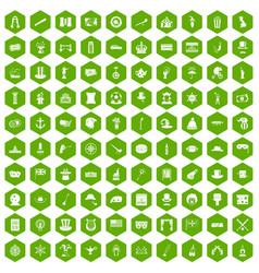 100 top hat icons hexagon green vector