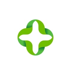 Isolated abstract green color cross logo vector image