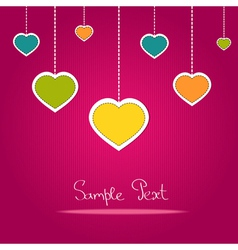 Card with colorful love hearts vector image