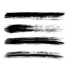 Set of four black grunge brushes vector