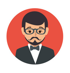 Red sphere of half body man formal style with vector