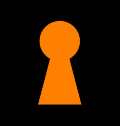 Keyhole sign  orange icon on black vector