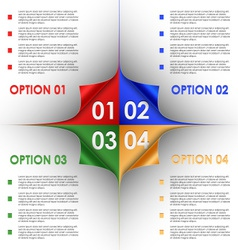 Options progress of colorful bent corners vector