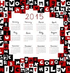 2015 calendar with letters vector image vector image