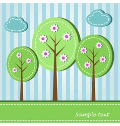 Spring blooming trees dashed style vector