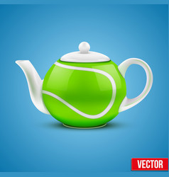 Ceramic teapot in tennis ball style vector