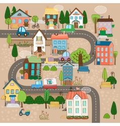 town on road vector image