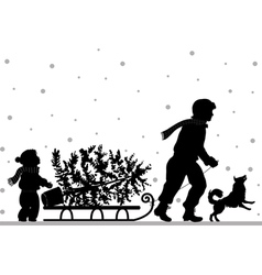 Dad and daughter carry Christmass tree vector image