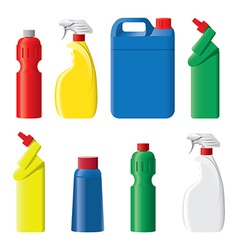 Set of plastic detergent bottles vector