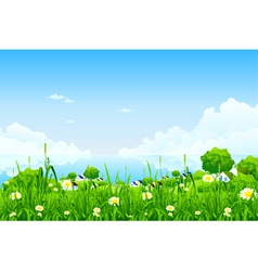 Green landscape with clouds vector