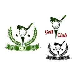 Golf club emblems with first stroke from tee vector