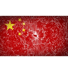 Flags china with broken glass texture vector