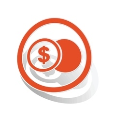 Dollar coin sign sticker orange vector