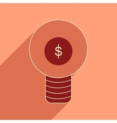 Flat with shadow icon dollar bulb inside vector