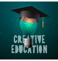 Creative education design bulb with mortarboard vector