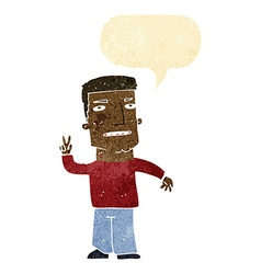 Cartoon man giving peace sign with speech bubble vector