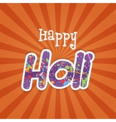 Happy Holi paper Word with Color Stains of Paint vector image