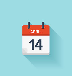 April 14 flat daily calendar icon date vector