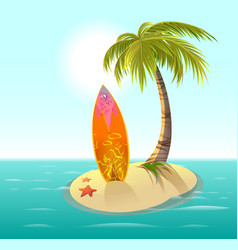 Surfboard sand island and palm summer rest vector