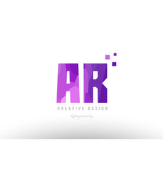 Ar a r pink alphabet letter logo combination with vector
