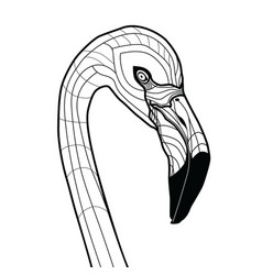 bird head flamingo tattoo isolated vector image vector image
