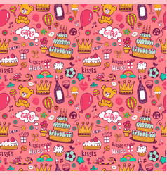 Birthday background on pink vector