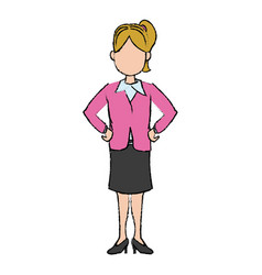 business woman character standing people vector image