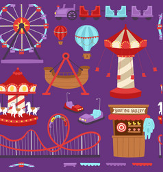 Carousels amusement attraction side-show kids park vector