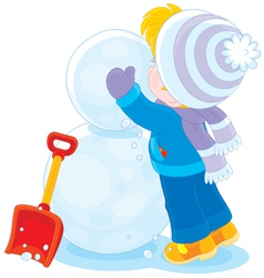 Child makes a snowman vector image