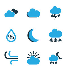 Climate colored icons set collection of cloudy vector