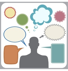 Clipart of man with speech bubbles vector image vector image