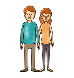 Color crayon stripe cartoon full body couple in vector