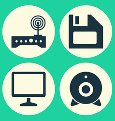 Computer icons set collection of diskette router vector
