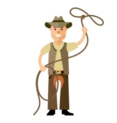 Cowboy with lasso flat style colorful vector