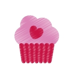 Drawing pink cup cake heart tasty celebration vector