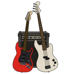 Electric guitars and the combo vector image vector image