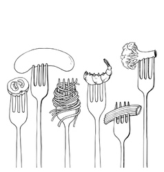 Forks with foods vector