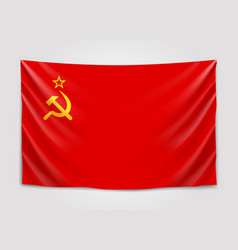 Hanging flag of ussrunion of soviet socialist vector