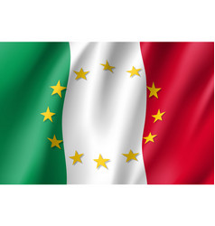 italy national flag with a star circle of eu vector image