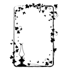 ivy frame with kerosene lamp vector image