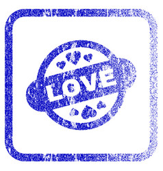 Love stamp seal framed textured icon vector